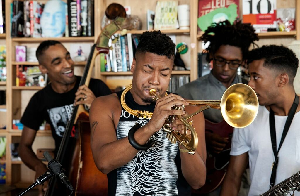Christian Scott aTunde Djuah performed a Tiny Desk Concert in September 2015 on the same day his new album, Stretch Music, dropped. (Julia Reihs / NPR)