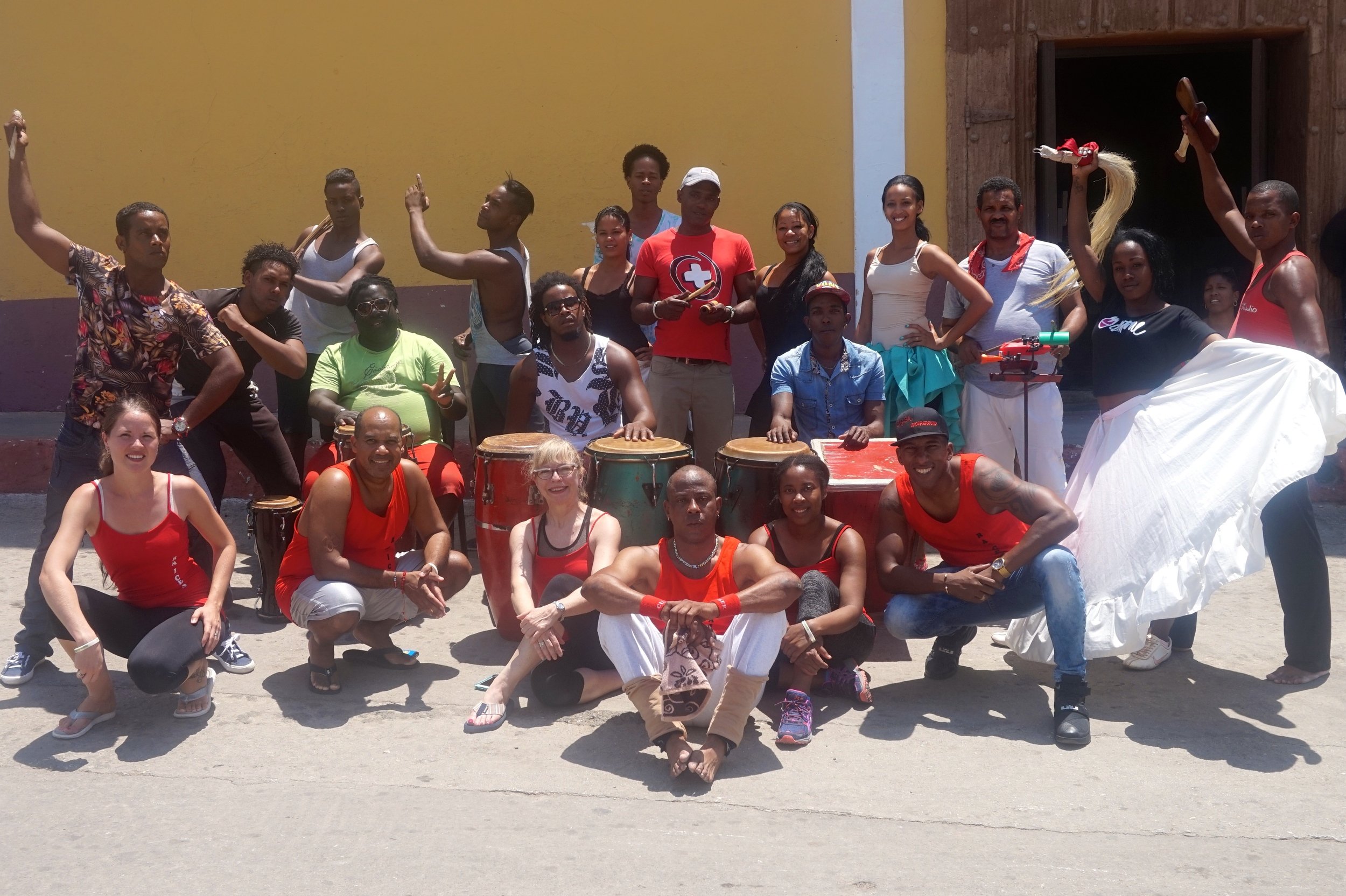 Dr. Brown with members of Salsa Underground, Yoel Marrero (Founder and Director, Salsa Underground), and Lazaro Monteagudo (Dancer, Yoruba Andabo)—Trinidad, Cuba