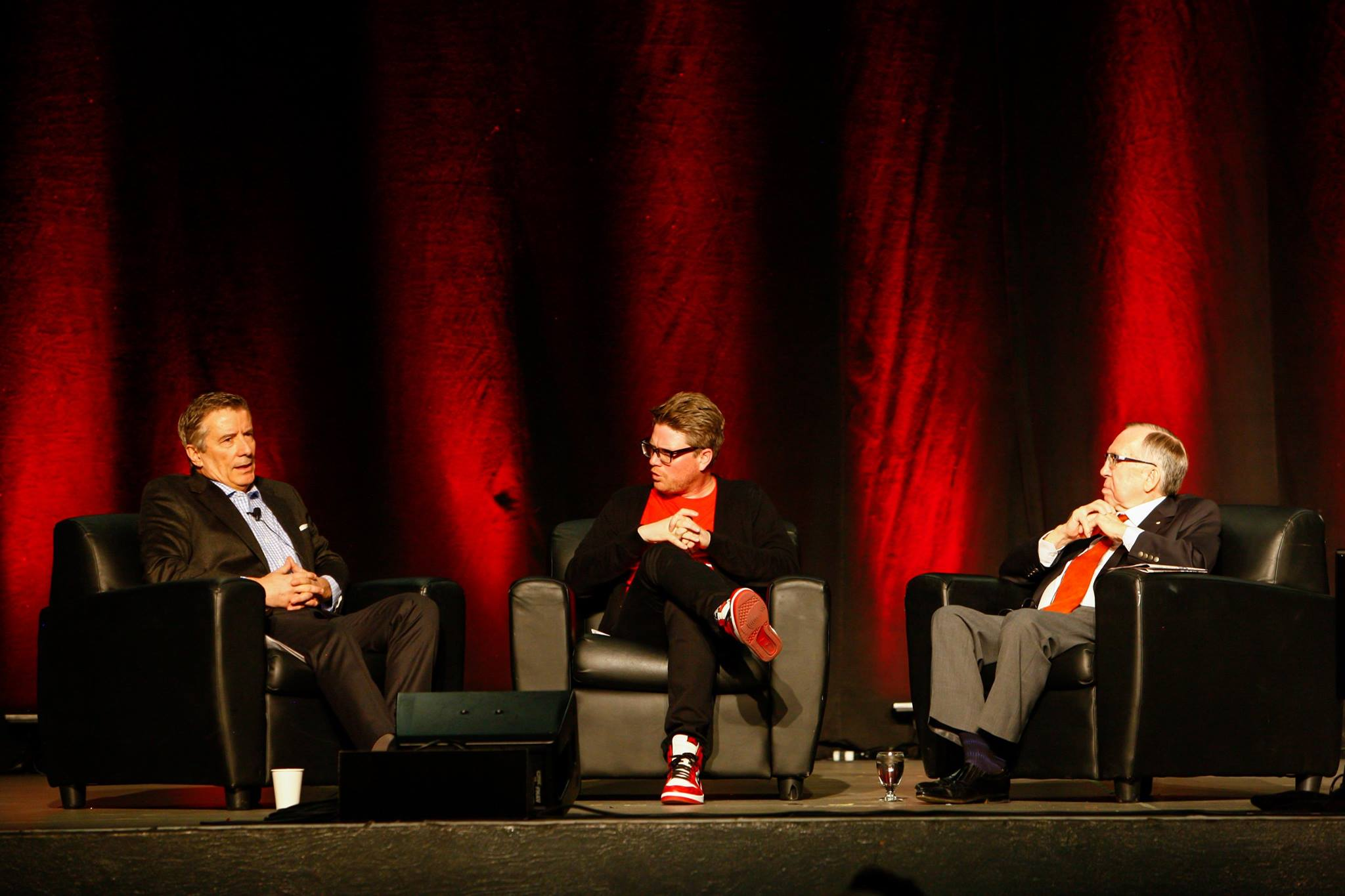 Interviewing two major Canadian philanthropists, Geoff Cumming and Dick Haskayne for UCalgary Alumni Weekend 2015 and a live episode of Peer Review.