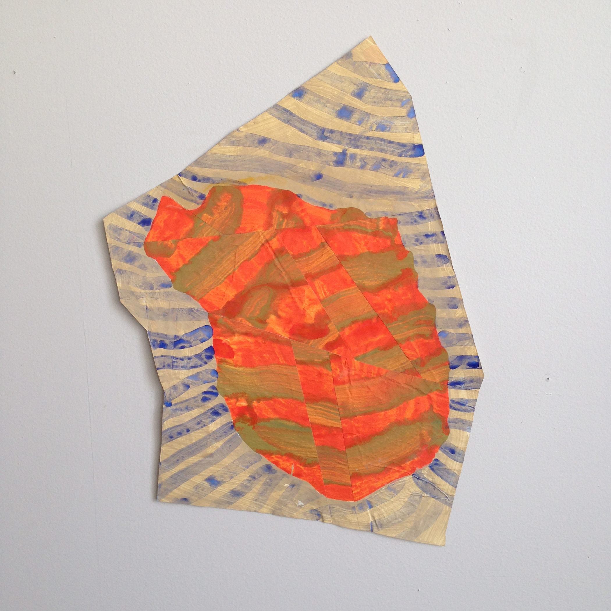 Disrupted Drawing Small 17, 2015, gesso and acrylic with collage on rice paper, 17 X 11 3/4""