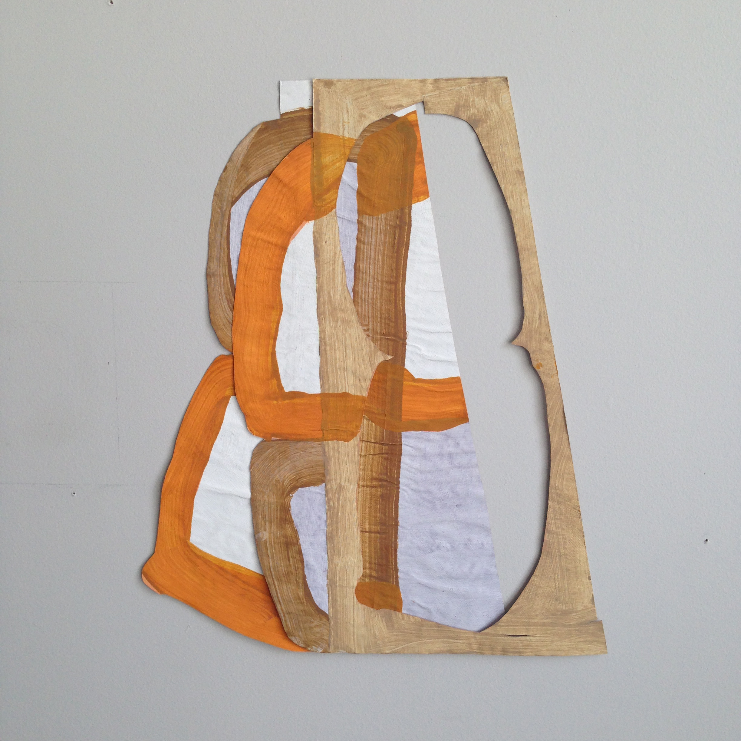 Disrupted Drawing Small 18, 2015, gesso and acrylic with collage on rice paper, 16 1/4 x 13 1/4""