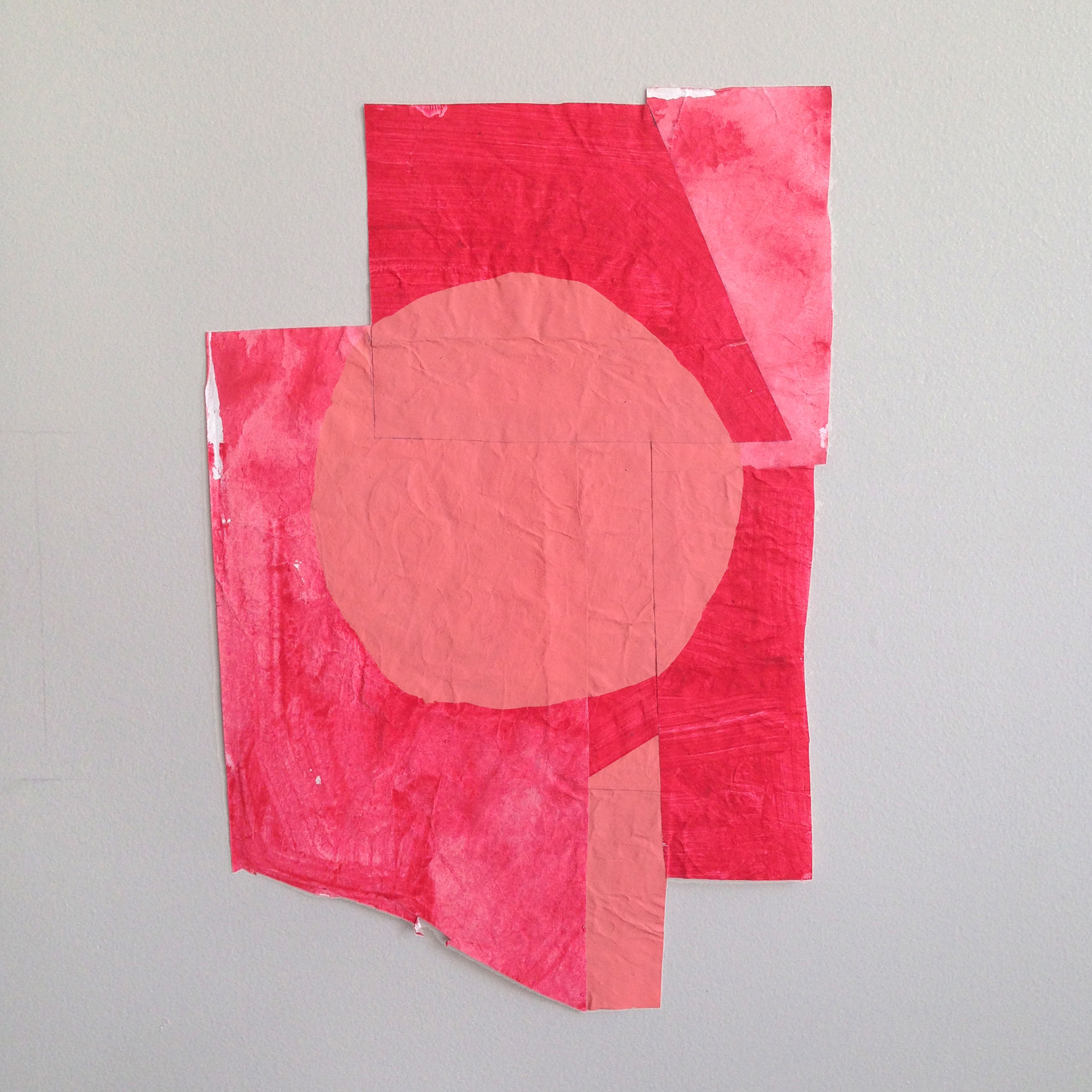 Disrupted Drawing Small 27, 2015, gesso gouache and acrylic with collage on rice paper, 15 1/2 x 10 1/8""