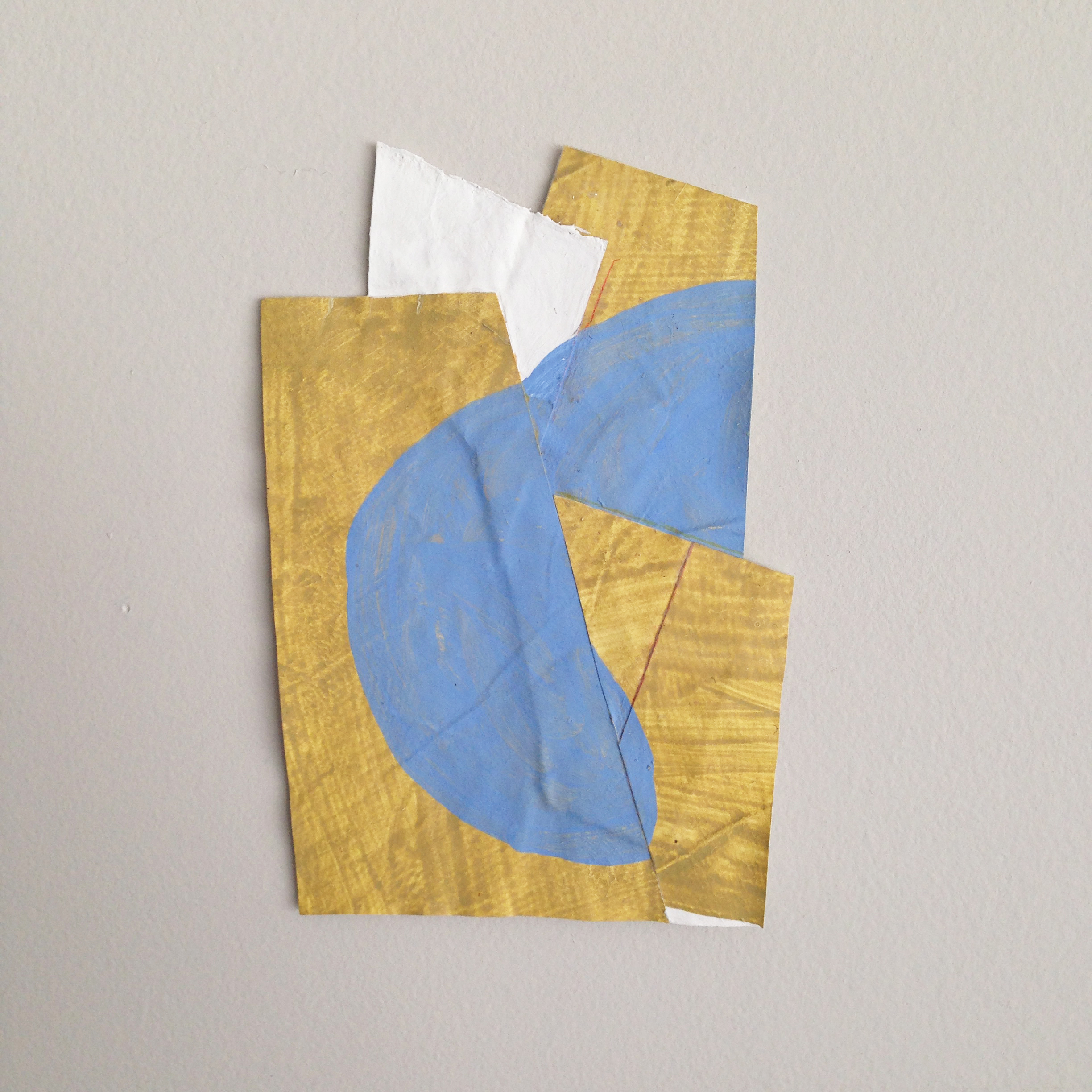 Disrupted Drawing Small 46, 2015, gesso, gouache, acrylic and colored pencil on rice paper, 5 1/2 x 3 3/4""