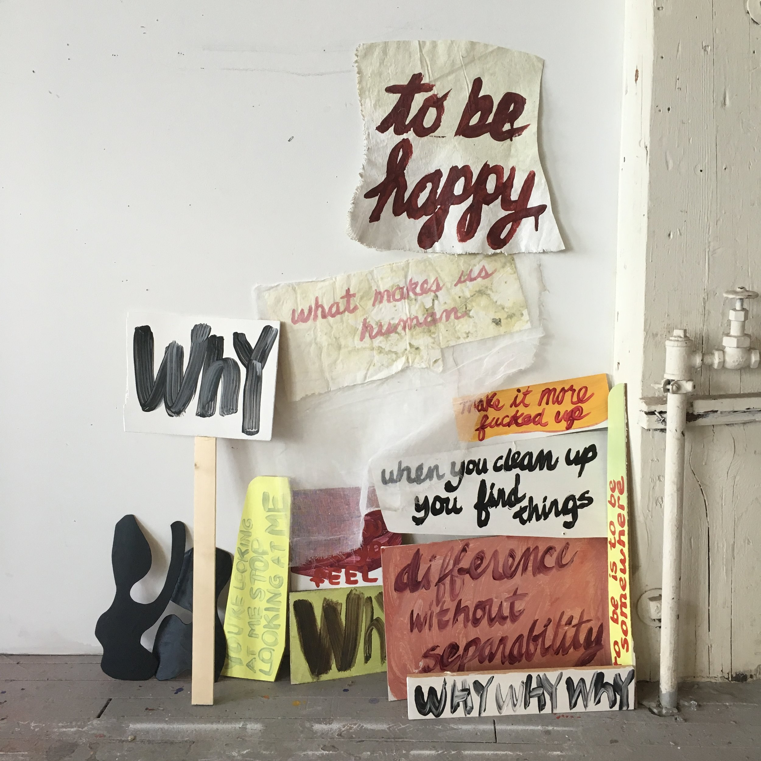A more condensed version of the summer installation. The language is from my personal history, visiting artist's talks, studio visit conversations. As the work evolves, I'm picking up language from the streets of Chicago, our Art Ideas readings...whatever jumps out.