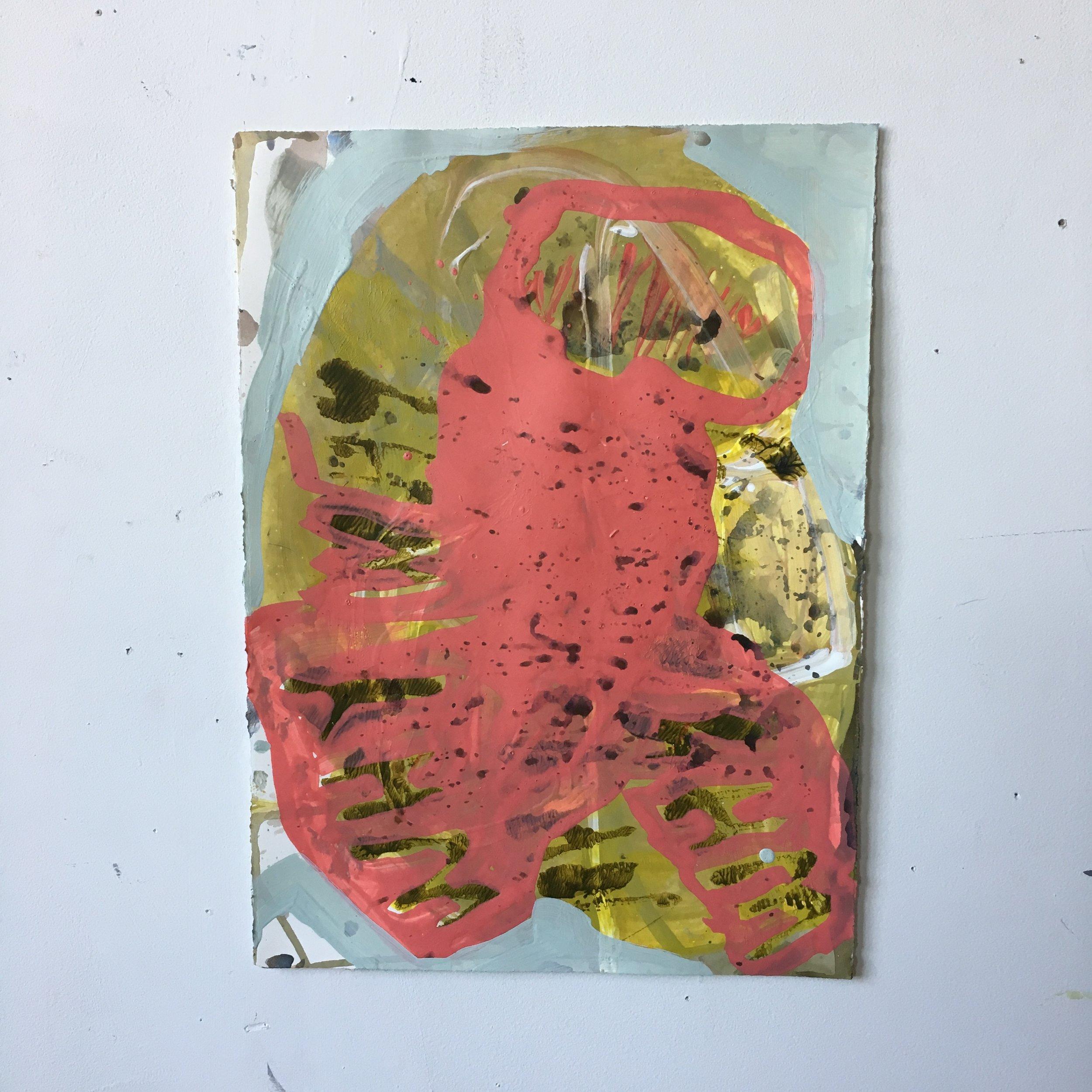 "Untitled, 2017, acrylic on Fabriano Artistico, 11"" x 15"""