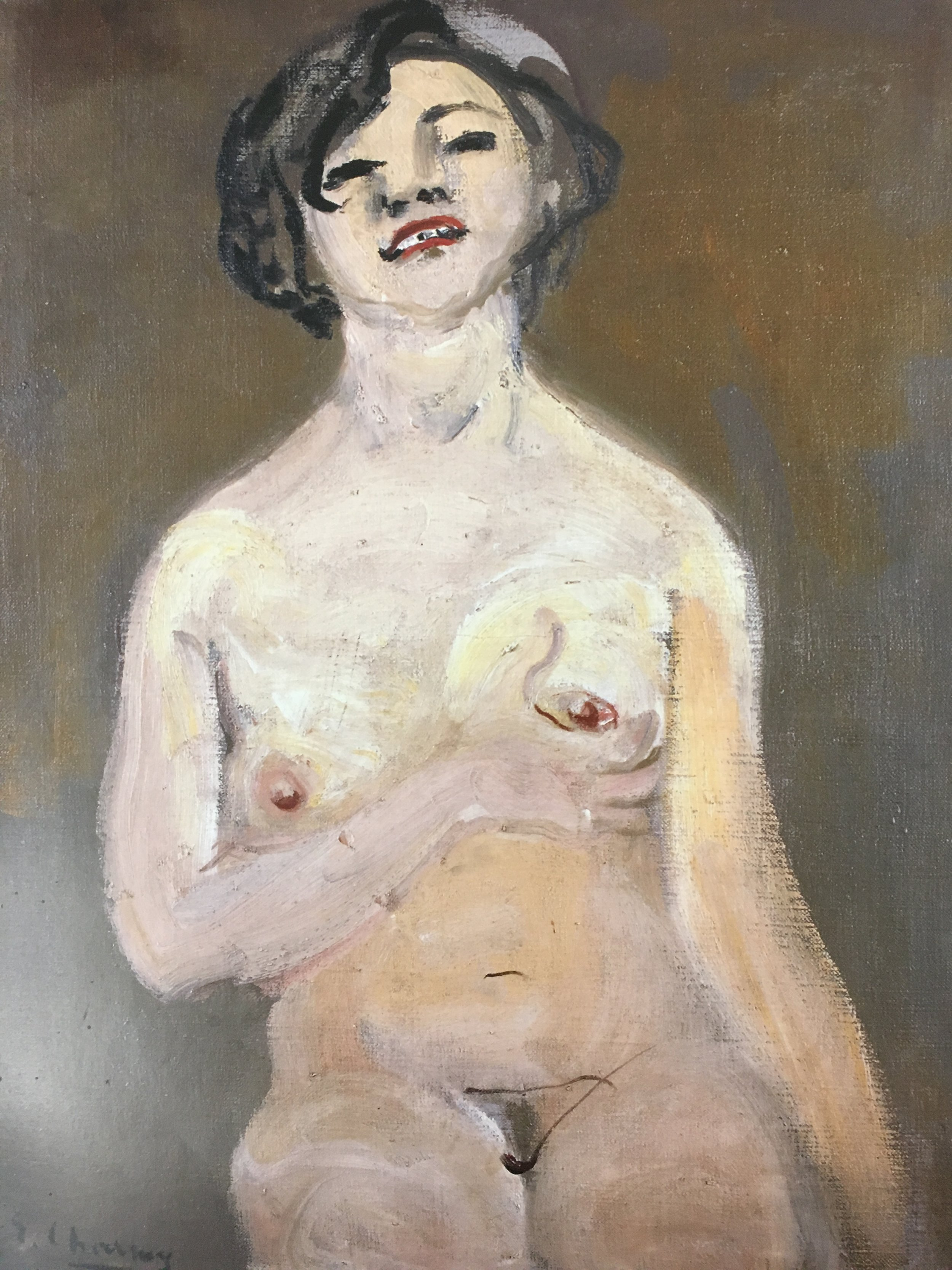 Woman Holding Her Breast , 1920-25, oil on canvas, 36 5/8 x 28 3/4""