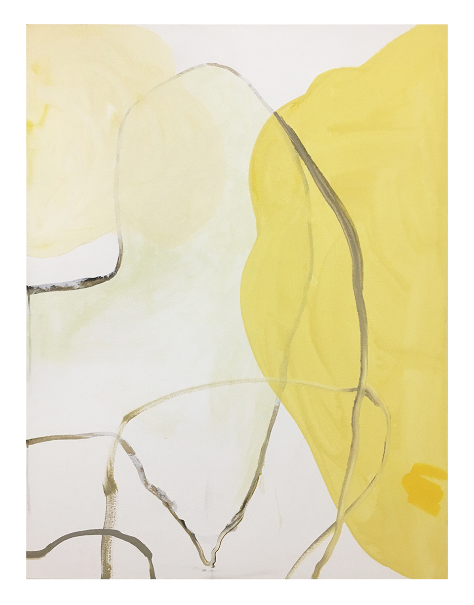 "Untitled (yellow painting) , 2017, acrylic and oil on canvas, 48"" x 36"""