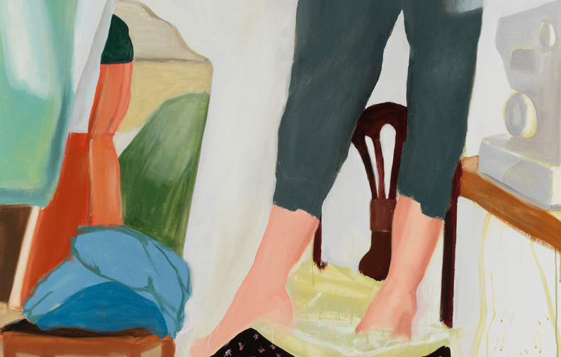 "Anastatia's Trousers , detail, 2018, oil on canvas, 90"" x 56"""