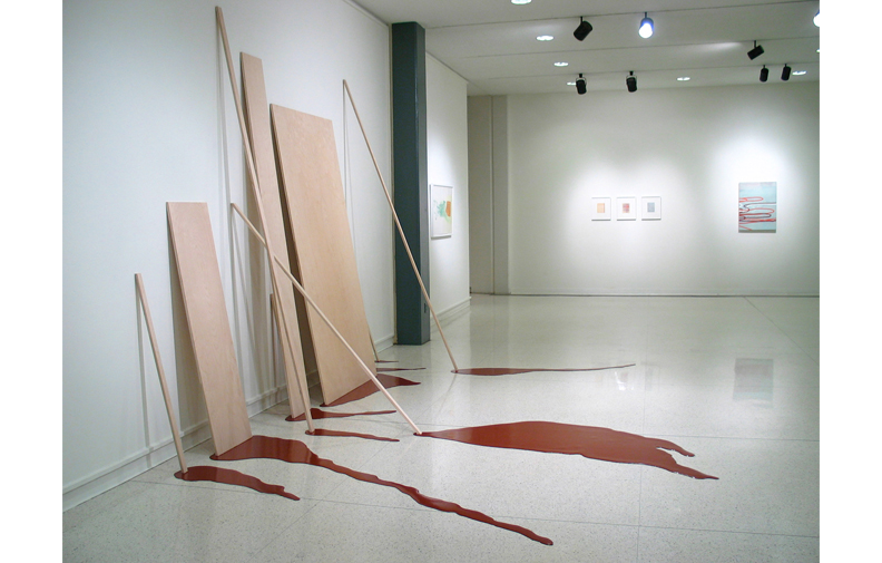 Seep  , 2004, birch plywood, latex paint, vinyl, in  Seamless  exhibition at Memphis College of Art, including Amy Sillman, James Siena, and Dan Devening.   Seep  is part of the series of poured paint works I created onsite between 2001-2004. This work takes the minimalist forms of the birch plywood and animates them with trails of red paint. The paint is thickly poured latex which sits as a dimensional object on the floor.