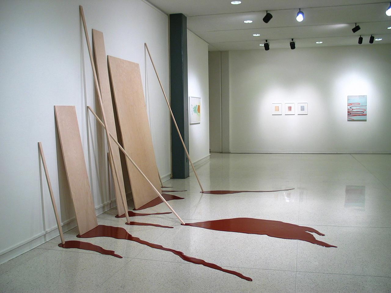 Seep , 2004, wood, poured paint, vinyl flooring, 12' x 15' x 10'