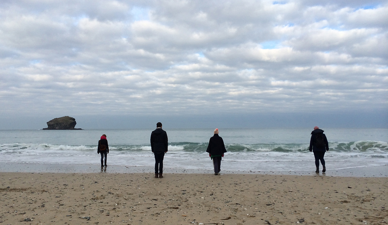 Watching Water , documentation of test performance, 2012-ongoing, participatory performance, Portreath Beach, Cornwall, UK