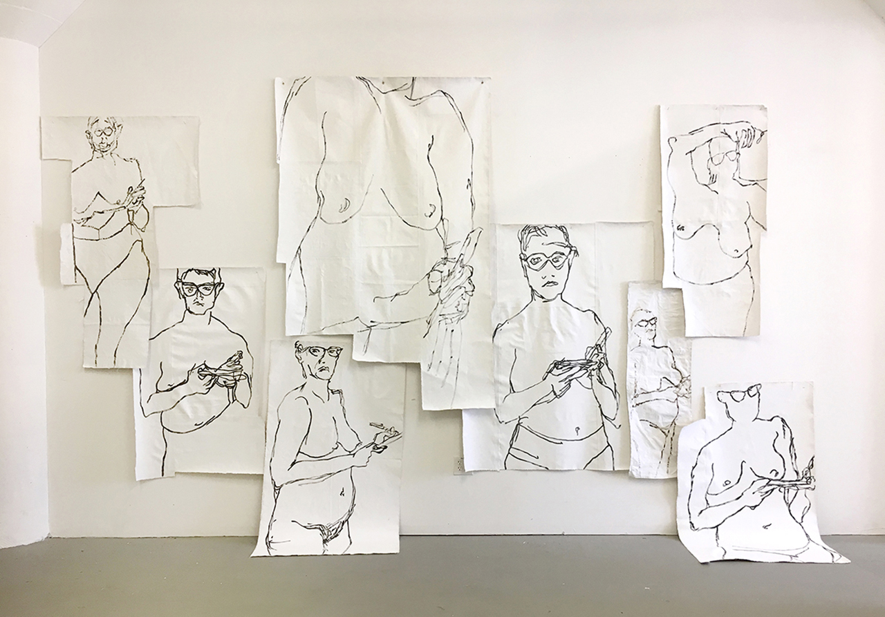 Untitled (Wall of Women) , 2017, acrylic on canvas, dimensions variable approx. 13' x 18' x 4'