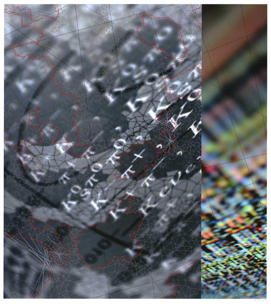 """Werner Sun   Constellation AE , 2014 Archival inkjet print, ink, thread 18"""" x 16"""""""