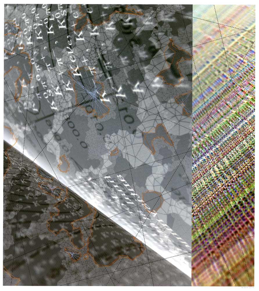 "Werner Sun   Constellation FT , 2014 Archival inkjet print, ink, thread 18"" x 16"""