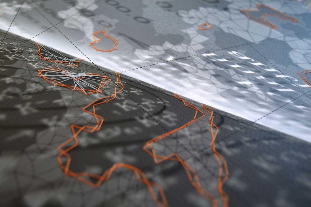 """Werner Sun   Constellation FT , detail, 2014 Archival inkjet print, ink, thread 18"""" x 16"""""""
