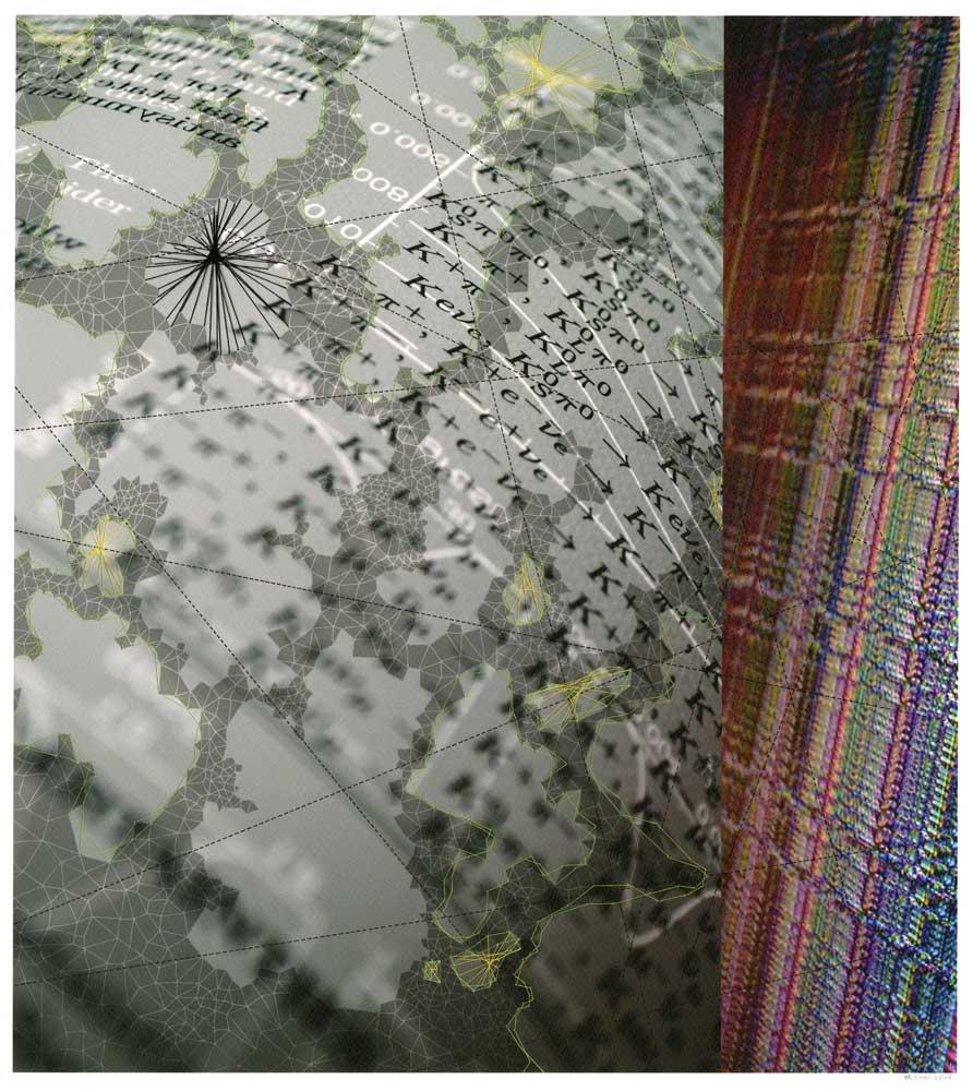 """Werner Sun   Constellation SC , 2014 Archival inkjet print, ink, thread 18"""" x 16"""""""
