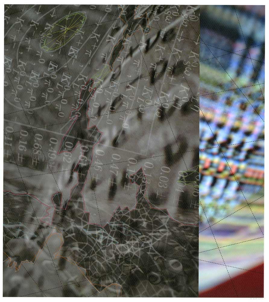 "Werner Sun   Constellation KF , 2014 Archival inkjet print, ink, thread 18"" x 16"""