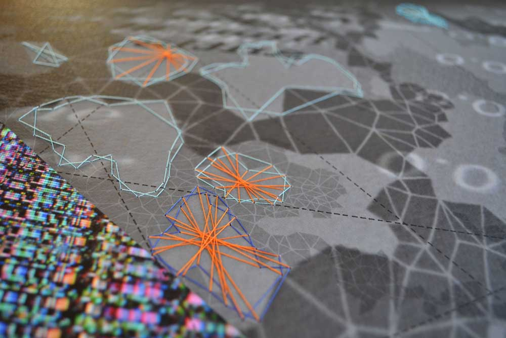 """Werner Sun   Constellation RG , detail, 2015 Archival inkjet print, ink, thread 18"""" x 16"""""""