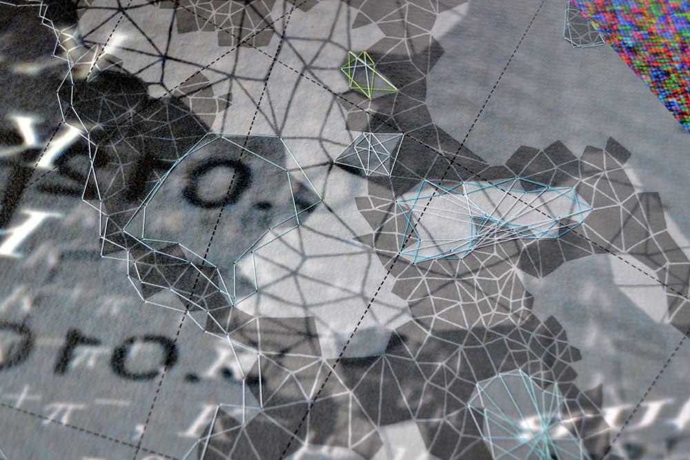 """Werner Sun   Constellation QC , detail, 2015 Archival inkjet print, ink, thread 18"""" x 16"""""""