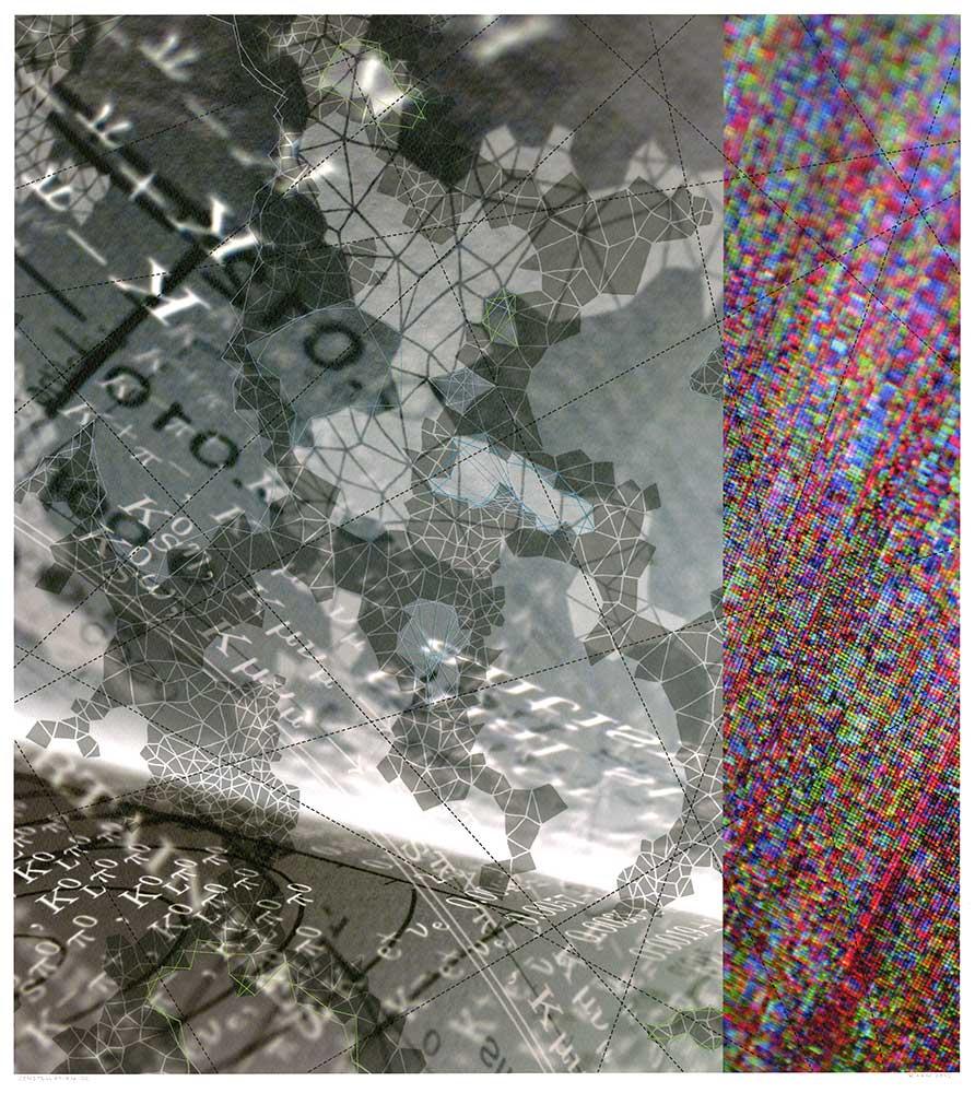 "Werner Sun   Constellation QC , 2015 Archival inkjet print, ink, thread 18"" x 16"""