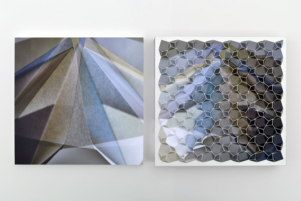 """Werner Sun   Double Vision 1B , diptych, 2018 Archival inkjet prints and acrylic on board 12"""" x 25"""" x 2"""""""