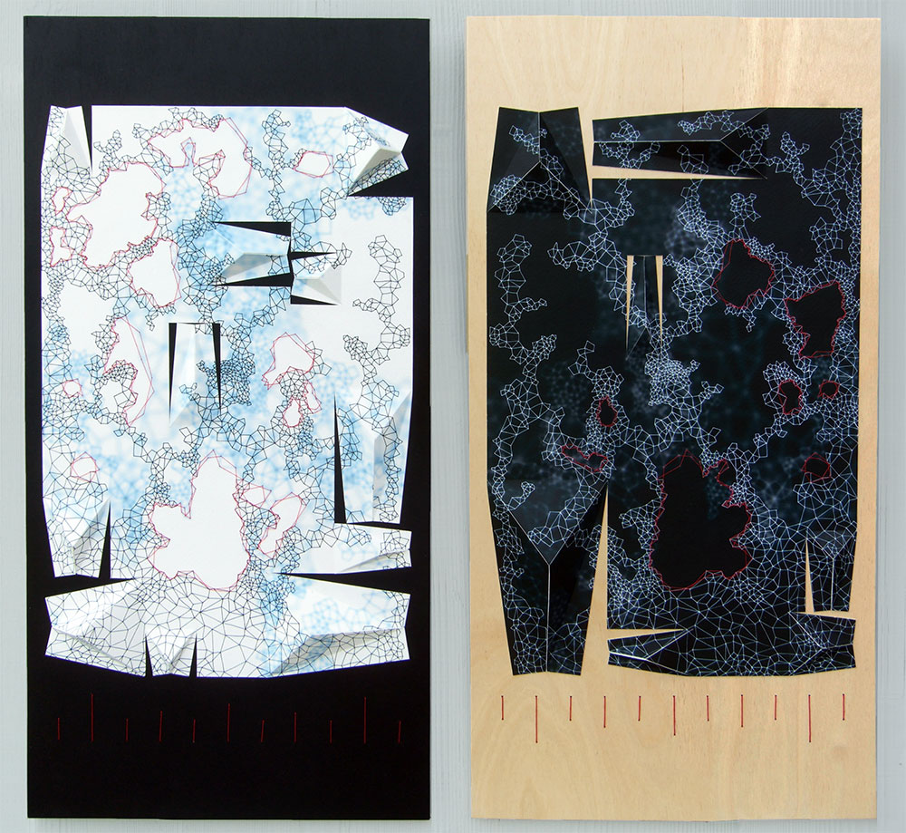 """The Measure of All Things [Recto, Verso] Archival inkjet prints, acrylic, and thread on board 24"""" x 12"""" x 1"""" (each) 2013"""