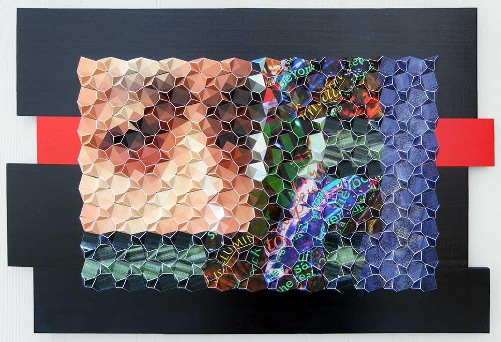 "AFondnessforSelfReflection Archival inkjet prints, acrylic, and ink on board 17"" x 26"" x 1"" 2013"
