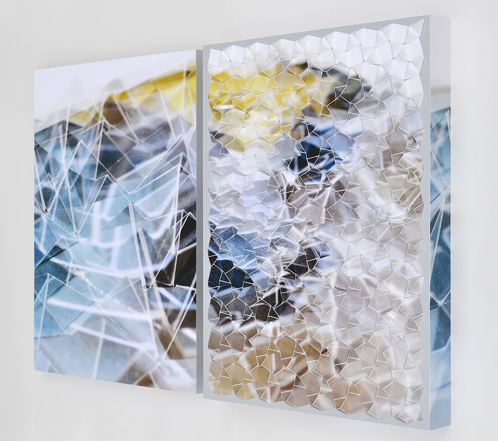 """Werner Sun   Double Vision 2A , diptych, 2018 Archival inkjet prints and acrylic on board 16"""" x 25"""" x 2"""""""