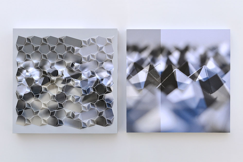 """Werner Sun   Double Vision 1C , diptych, 2019 Archival inkjet prints and acrylic on board 12"""" x 25"""" x 2"""""""
