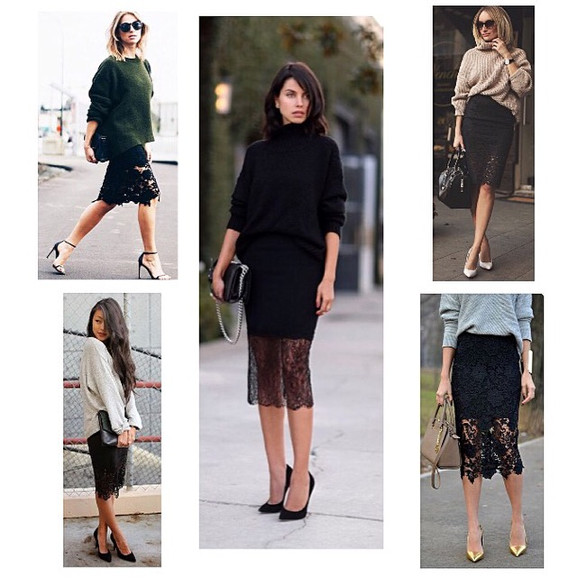 Cozy Sweaters and Boudoir Lace Pencil Skirts