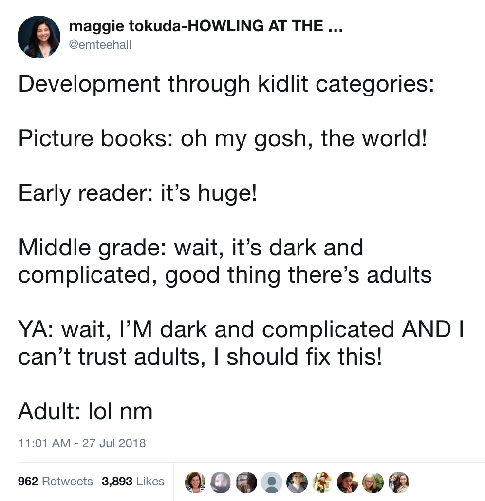 - This is mostly a joke, and does not speak to things like upper middle grade books (for ages 10+) and non fiction picture books (which can span all ages), or the difference between regular YA and high YA (which to me is often the difference of sex . violence on the page or off it) but it does cover some basic differences in tone.