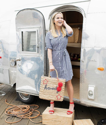Reese Witherspoon and our 1962 Airstream Bambi in Monterey, California        Photos ©Draper James