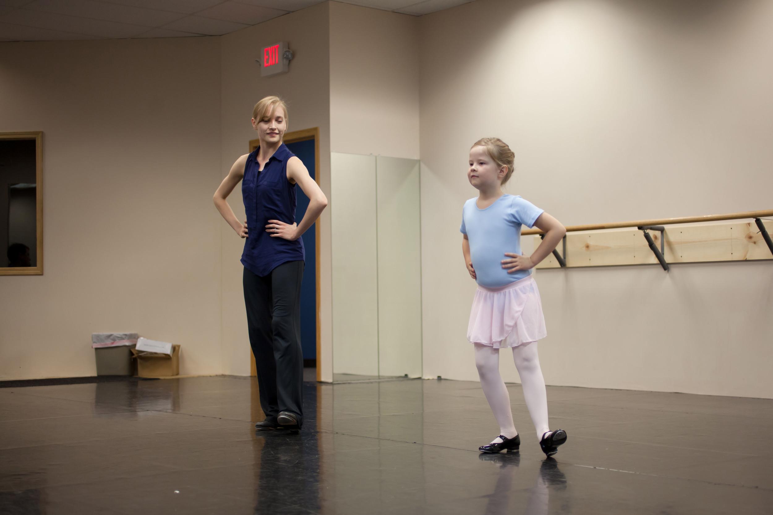 Ballet 5:8 School of the Arts Instructor Ms. Lauren Ader-Cumpston teaches beginning Children's Tap
