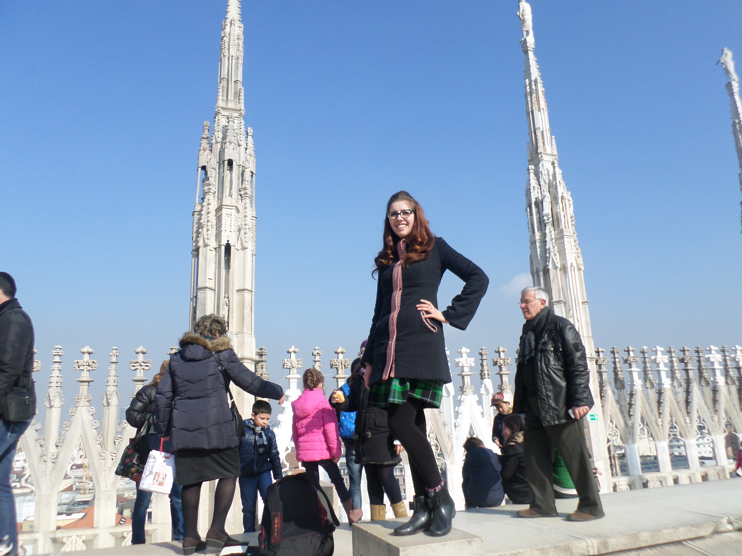 On top of the infamous Milano Duomo. UNBELIEVABLE architecture and a stunning, stunning, work or art! Thanks to the fellow Canadese that snapped this shot.