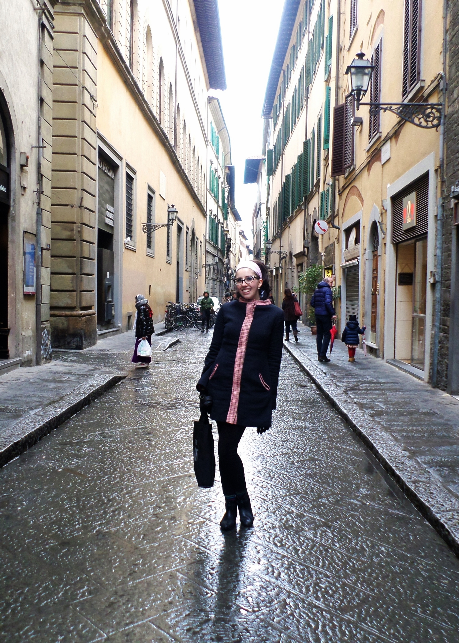 Rainy but lovely Florence city streets.
