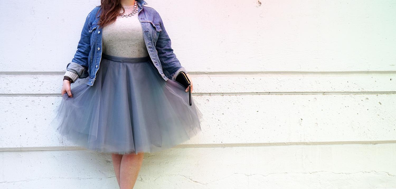 Fluffy grey and aqua tulle skirt 2016
