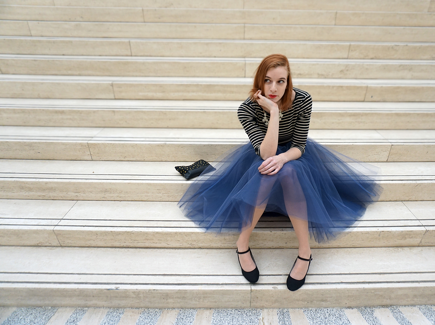 Blue and grey tulle skirt