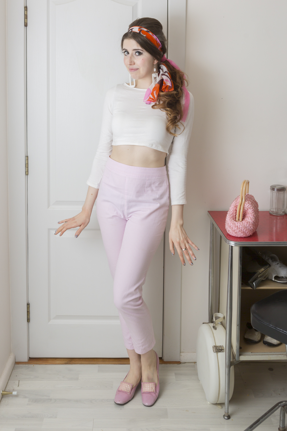 Pink Gingham High Waisted Cigarette Pants
