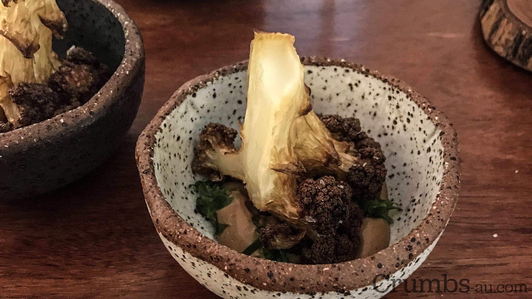 char cauliflower, black garlic