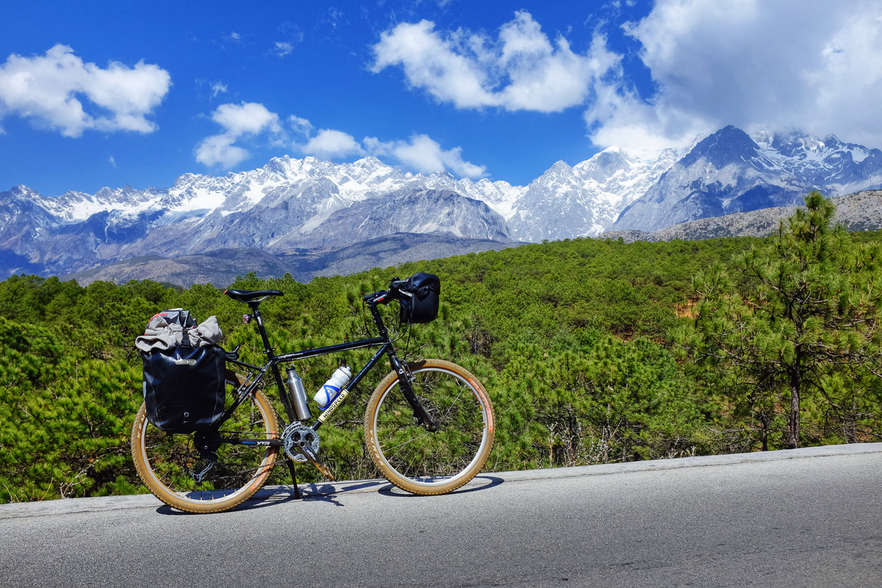 Cycling along the east side of Jade Dragon mountain.