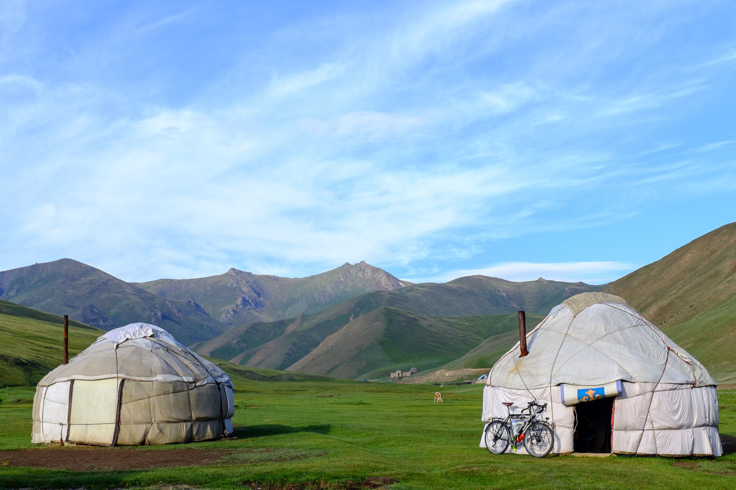 Preparing our bikes at Sabyrbeks's yurt camp