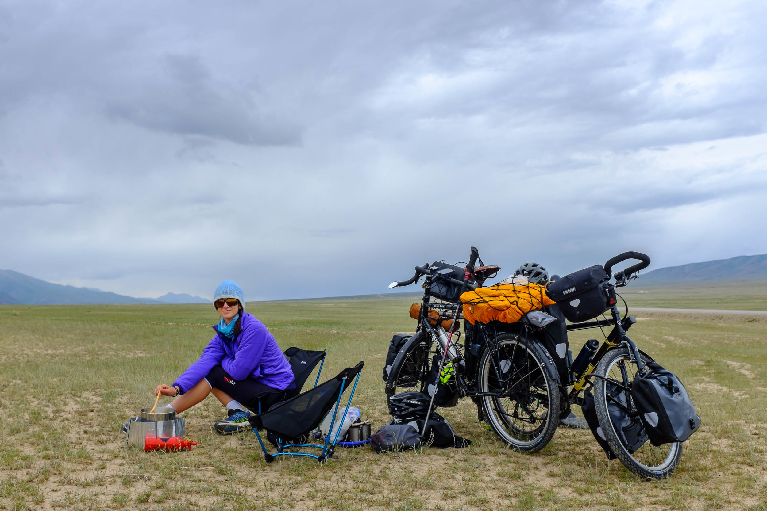 Stopping for lunch on the plains of southern Kyrgyzstan