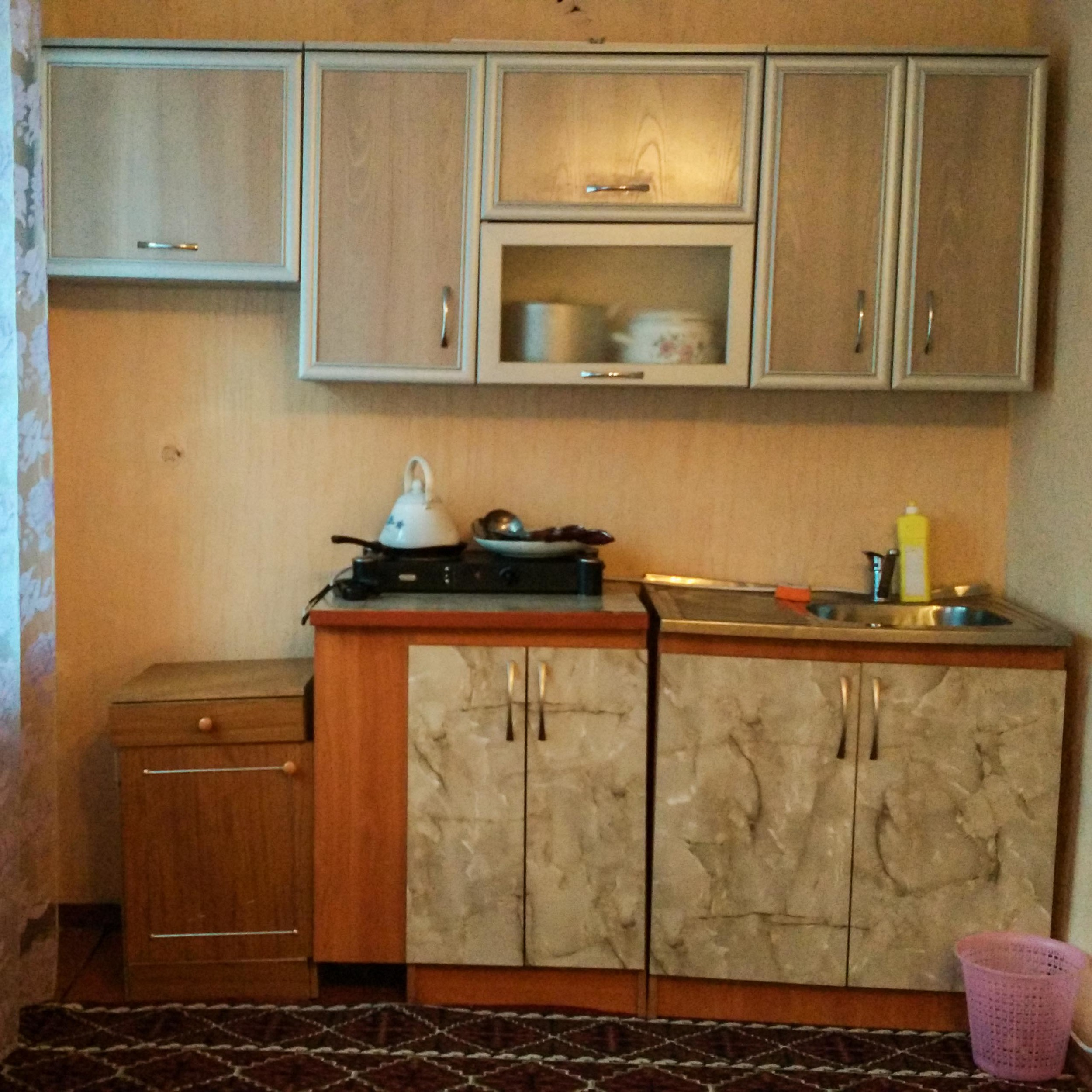 The droopy kitchen in our Naryn homestay