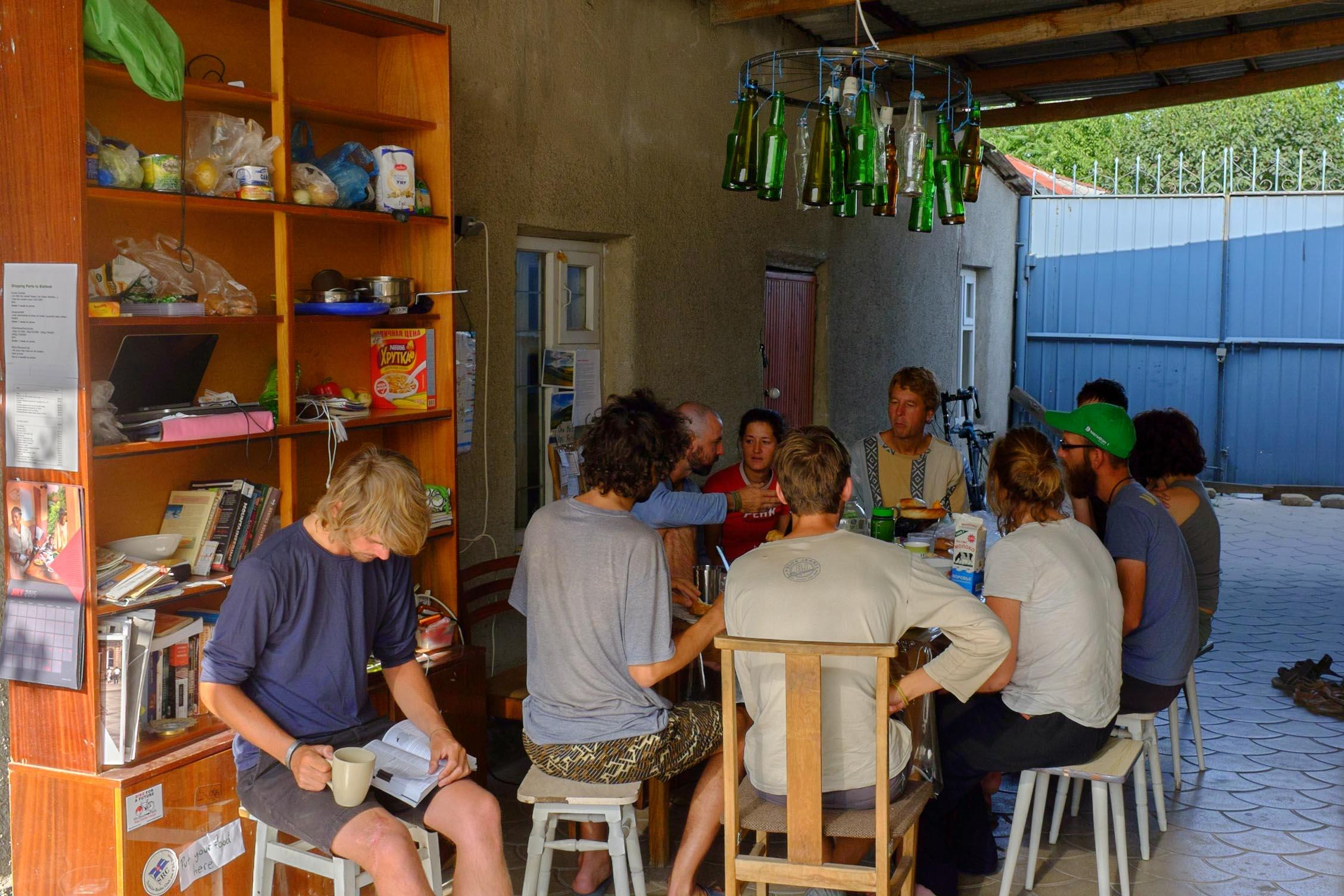 Communal dining area at At-House in Bishkek