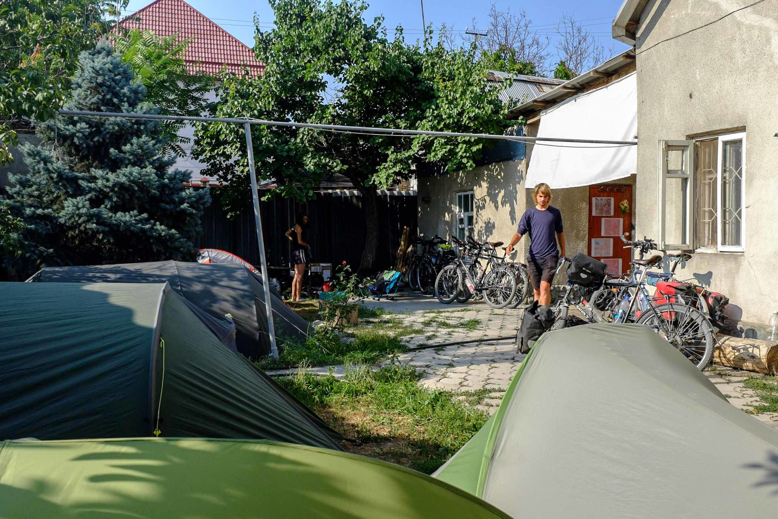 Tent city in the backyard of At-House