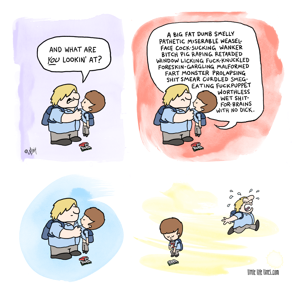 Cartoon Bully asks what are you looking at and is told in detail ©little life lines comic by Nick Birch