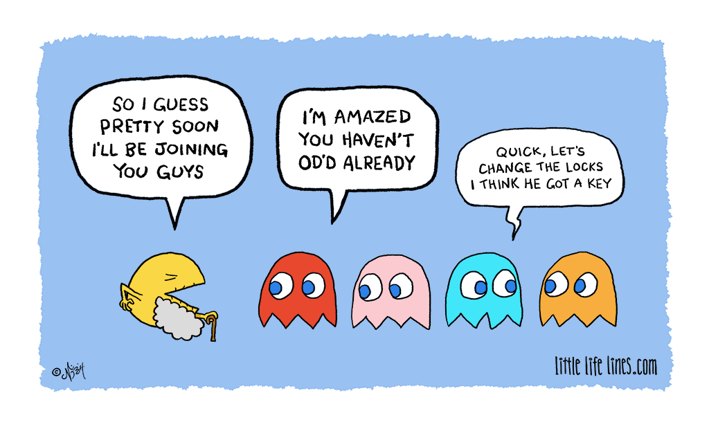 Cartoon Pac-Man is getting so old he's about to turn into a ghost himself © little life lines comic by Nick Birch