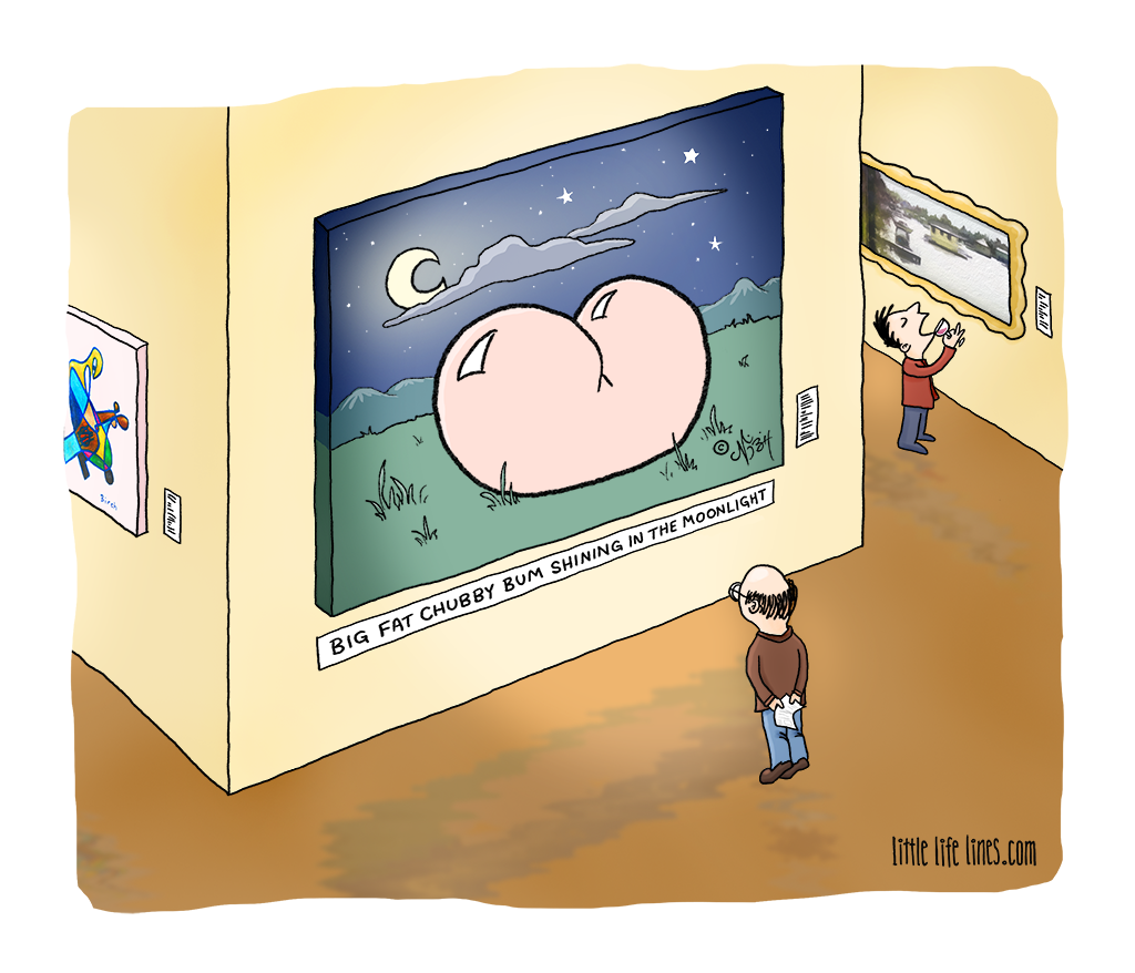 Cartoon Big fat chubby bum shining in the moonlight © little life lines comic by Nick Birch