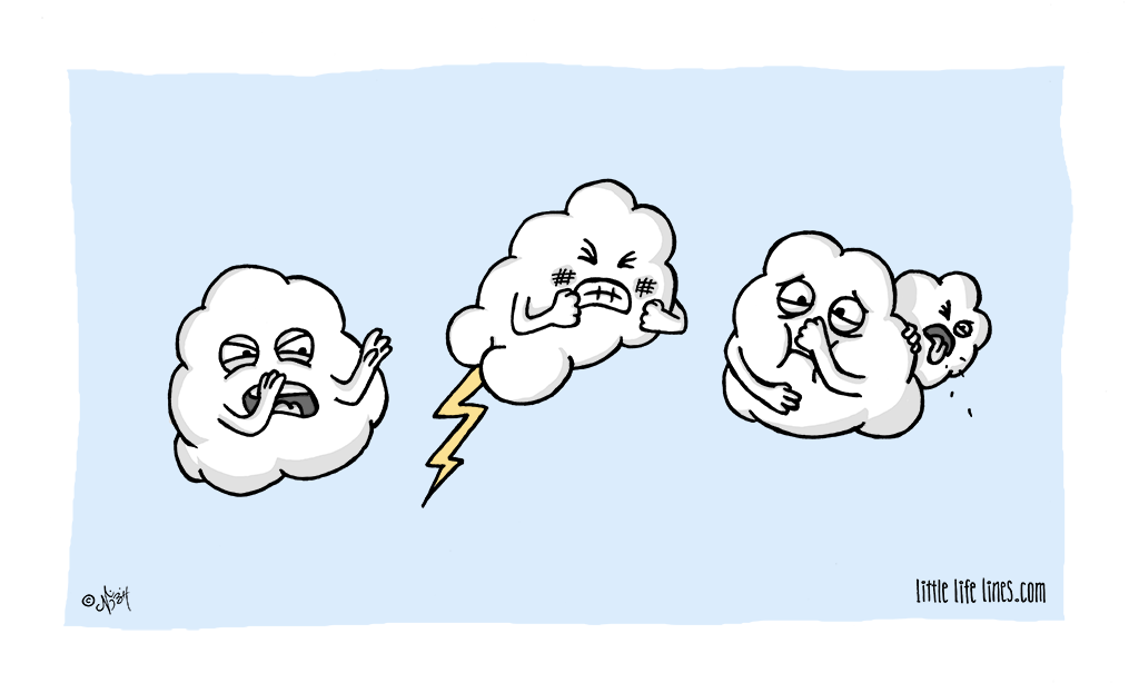 Cloud farting out thunder crapping bolts of lightening