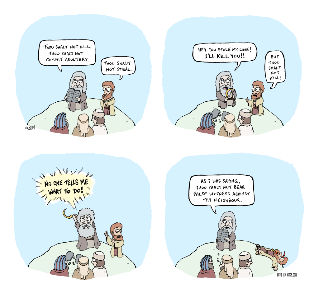 Moses and the ten commandments get interrupted resulting in death